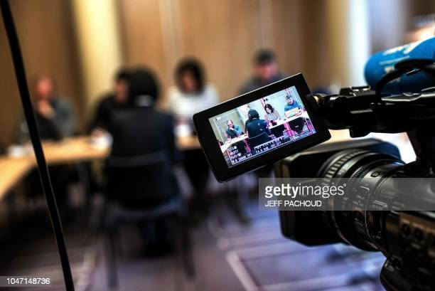 TOPSHOT Grace the wife of the missing Interpol president Meng Hongwey talks to journalists on October 7 2018 in Lyon during a press conference during...