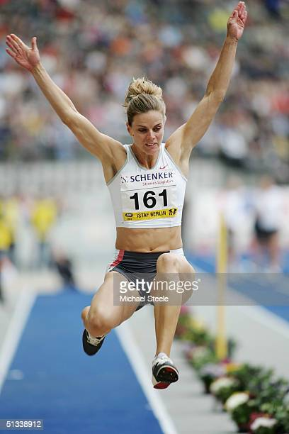 Grace Upshaw of the USA competes in the Women's Long Jump during the IAAF Golden League Meet in the Olympic Stadium on September 12, 2004 in Berlin,...