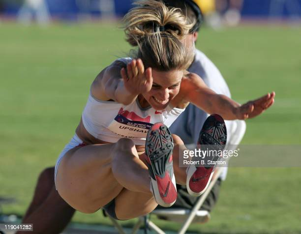 Grace Upshaw qualified behind Marion Jones in the Women's Long Jump with a 2225 effort at the US Track and Field Olympic trials at California State...