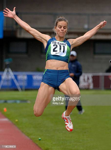 Grace Upshaw was second in the women's long jump at 213 1/2 in the Prefontaine Classic at the University of Oregon's Hayward Field in Eugene Ore on...