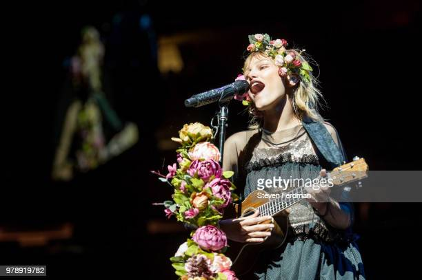 Grace VanderWaal performs live on stage during Imagine Dragons in concert at Madison Square Garden on June 19 2018 in New York City