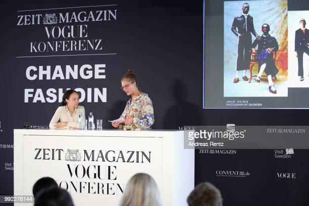 Grace Wales Bonner and Claire Beermann speak on stage at the ZEITMAGAZIN X VOGUE Conference during 'Der Berliner Salon' Spring/Summer 2019 at...