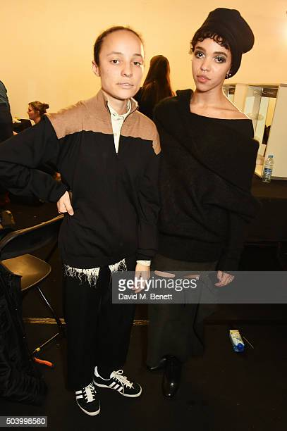 Grace Wales Bonner and FKA Twigs attend the MAN front row during London Collections Men AW16 at the Topman Show Space on January 8 2016 in London...
