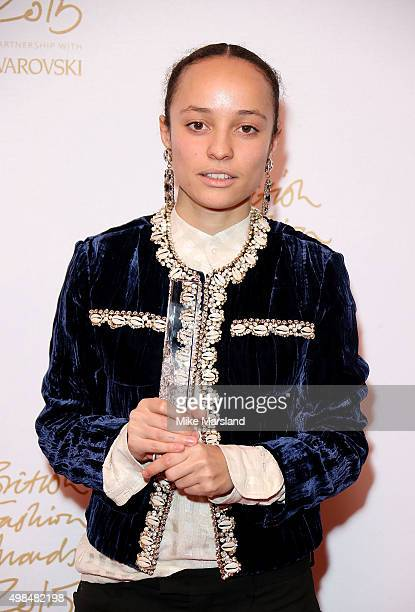 Grace Wales Bonner winner of the Emerging Talent Award poses in the Winners Room at the British Fashion Awards 2015 at London Coliseum on November 23...