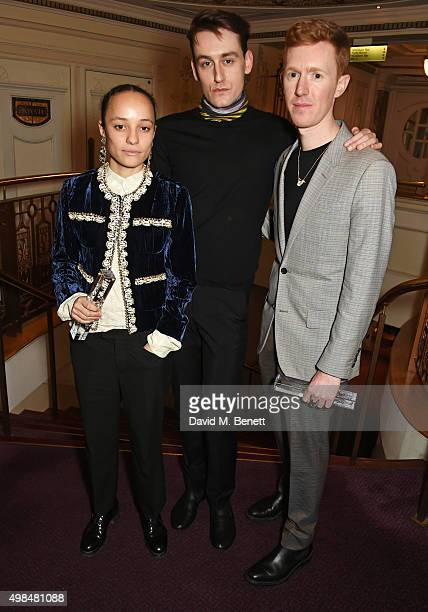 Grace Wales Bonner winner of the Emerging Talent Award Thomas Tait winner of the Emerging Womenswear Designer Award and Jordan Askill winner of the...