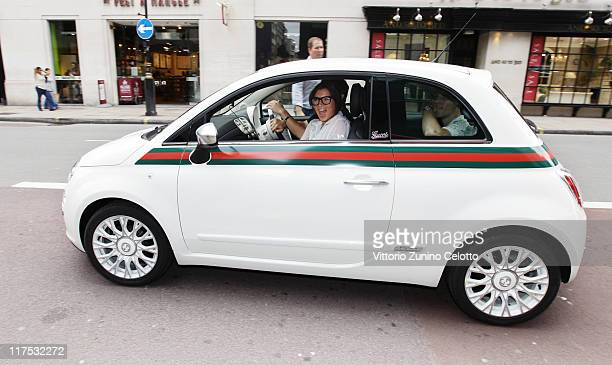 Grace Woodward arrives at the UK launch of the FIAT 500 by Gucci a special edition FIAT 500 customized by Gucci Creative Director Frida Giannini in...