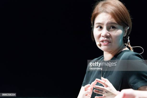 Grace Yin director of Tencent Holdings Ltd's WeChat Pay speaks during the Rise conference in Hong Kong China on Wednesday July 11 2018 The conference...