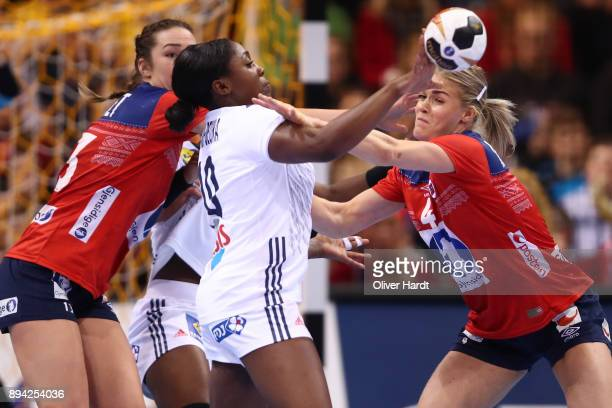Grace Zaadi of France and Veronica Egebakken Kristiansen of Norway challenges for the ball during the IHF Women's Handball World Championship final...