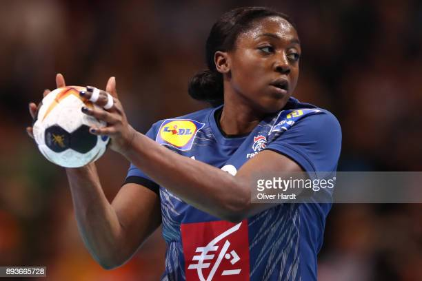 Grace Zaadi of France in action during the IHF Women's Handball World Championship Semi Final match between Sweden and France at Barclaycard Arena on...