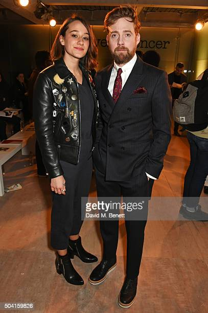 Grace Zito and Ricky Wilson attend the Oliver Spencer front row during London Collections Men AW16 at 180 The Strand on January 9 2016 in London...