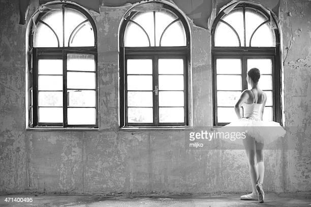 Graziosa ballerina in posa accanto alla finestra