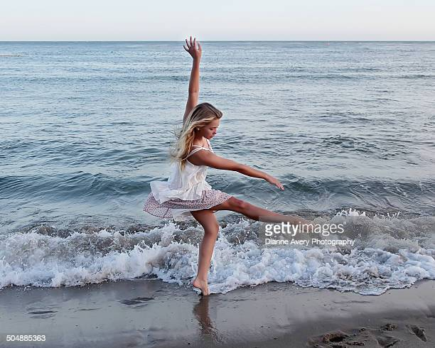 graceful dancer at waters edge in malibu - little girls up skirt fotografías e imágenes de stock