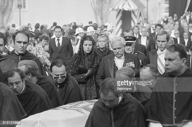 Grace's Funeral. Monaco: A solemn Princess Caroline, Prince Rainier, and Prince Albert of Monaco follow the casket of Princess Grace, September 18,...