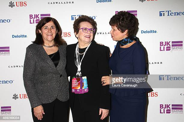 Gracia Martore Billie Jean King and Valerie Jarrett attend the Billie Jean King Leadership Initiative Gala at Powerhouse at The American Museum of...