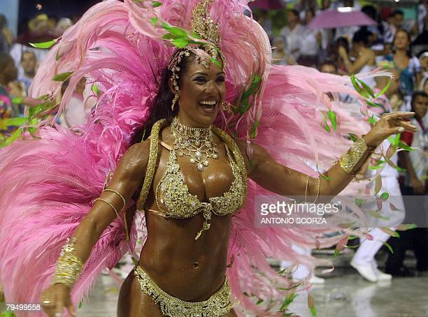 Graciane Melo Queen of the Drums of Mangueira samba school performs at the Sambodrome during the first night of carnival celebrations in Rio de...