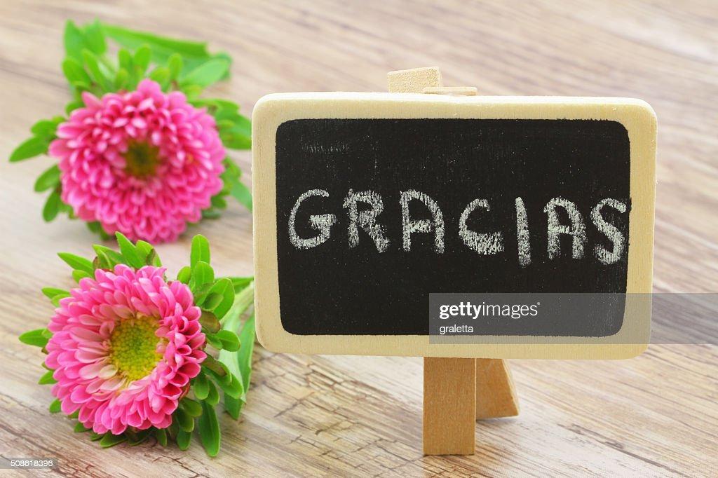 Gracias (thank you in Spanish) written on blackboard, pink daisies : Stock Photo