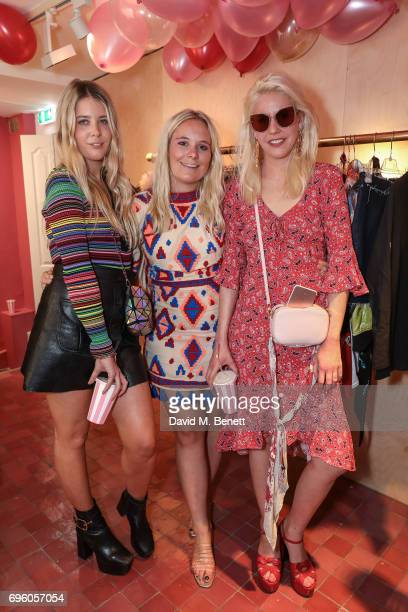 Gracie Egan Amy Sturgis and India Rose James attend the Arty Farty Fashion Party launch on June 14 2017 in London England
