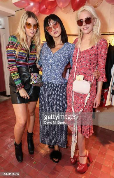 Gracie Egan Betty Bachz and India Rose James attend the Arty Farty Fashion Party launch on June 14 2017 in London England