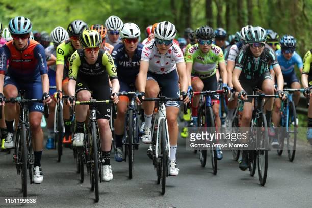 Gracie Elvin of Australia and Team Mitchelton Scott / Elisa Longo Borghini of Italy and Team Trek Segafredo Polka Dot Mountain Jersey / Peloton /...