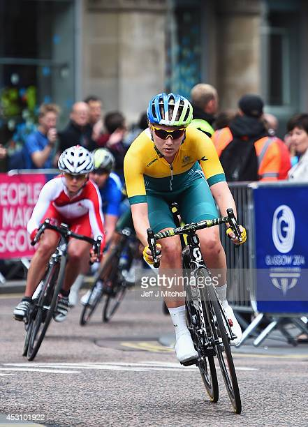 Gracie Elvin of Australia rides through Nelson Mandela Place in the Women's Road Race during day eleven of the Glasgow 2014 Commonwealth Games on...