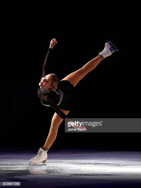 Gracie Gold of Team North America performs during an exhibition on day 3 of the 2016 KOSE Team Challenge Cup at Spokane Arena on April 24 2016 in...