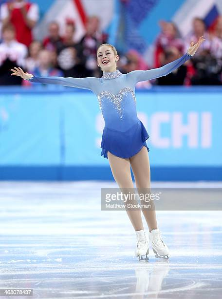 Gracie Gold of the United States competes in the Team Ladies Free Skating during day two of the Sochi 2014 Winter Olympics at Iceberg Skating Palace...