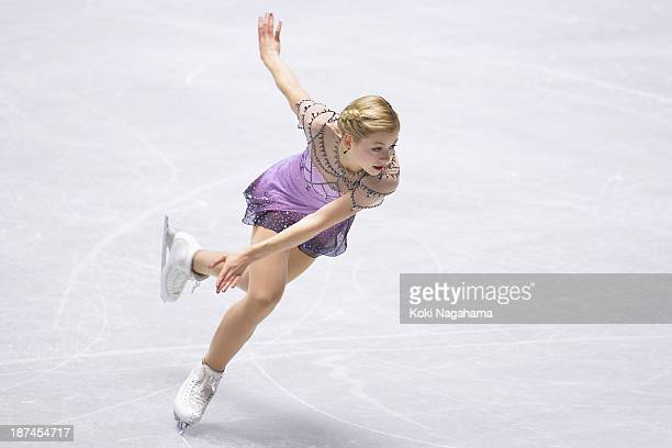 Gracie Gold of The United States competes in the women's freee program during day two of ISU Grand Prix of Figure Skating 2013/2014 NHK Trophy at...