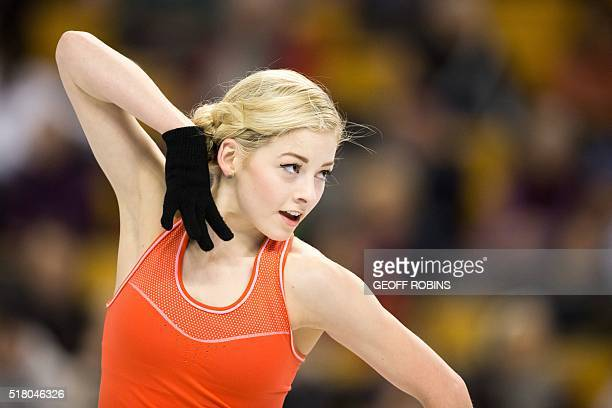 Gracie Gold of the United States skates during a practice session at the ISU World Figure Skating Championships in Boston on March 29, 2016.