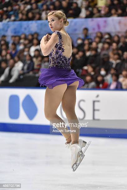 Gracie Gold of the USA competes in the Ladies Free Program during day two of ISU Grand Prix of Figure Skating 2014/2015 NHK Trophy at the Namihaya...
