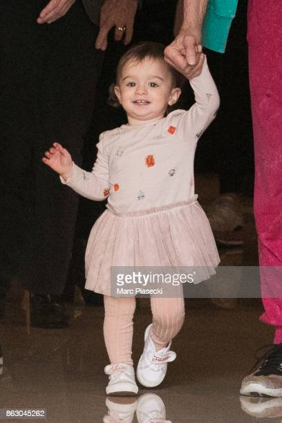 Gracie Jane Wood is seen leaving the 'Four Seasons George V' hotel ahead the first Rolling Stones concert at U Arena on October 19, 2017 in Paris,...
