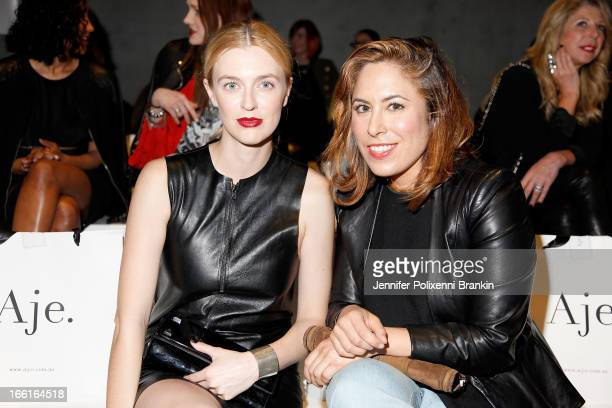 Gracie Otto and Jessica Carrera attend the Aje show during MercedesBenz Fashion Week Australia Spring/Summer 2013/14 at Carriageworks on April 9 2013...
