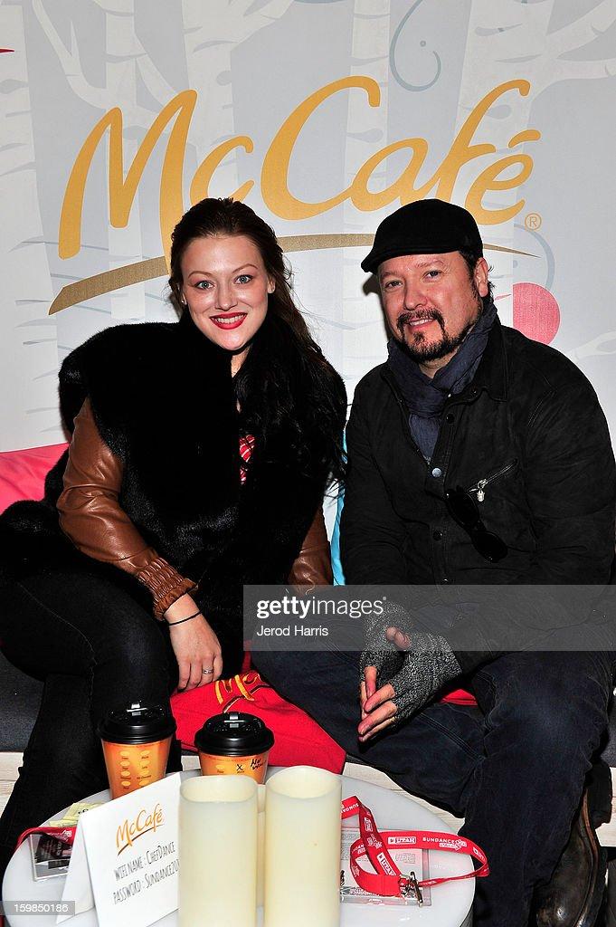 Gracie Rae and Carlos Gallardo warm up at the McDonald's McCafe at Sundance on January 21, 2013 in Park City, Utah.