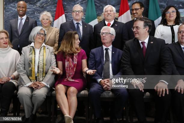 Graciela Marquez Mexico's secretarydesignate for economy from left Chrystia Freeland Canada's minister of foreign affairs Jim Carr Canada's...