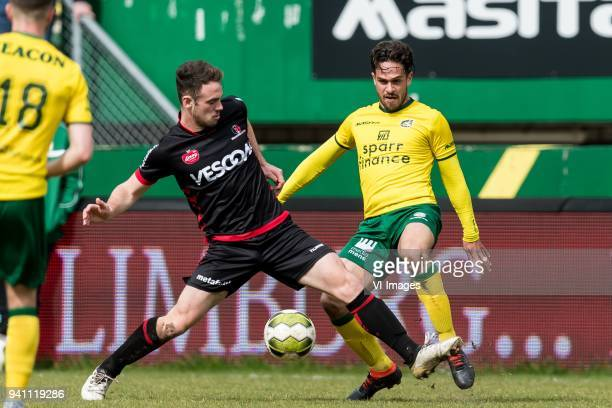 Grad Damen of Helmond Sport Michael Pinto of Fortuna Sittard during the Jupiler League match between Fortuna Sittard and Helmond Sport at the Fortuna...
