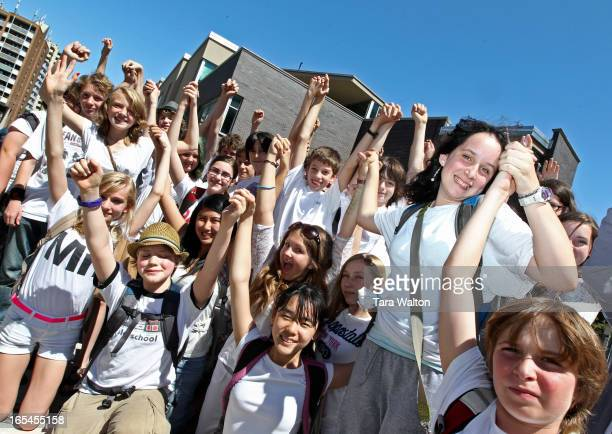 Grade 7 student Antigone Fogel stands amoung here peers Tuesday June 28 2011 in front of Spectrum Alternative School The grade 7 and 8 students chose...