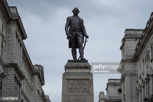 Grade II-listed bronze statue of Robert Clive, located on King Charles Street in Whitehall on June 10, 2020 in London, England. Robert Clive served...