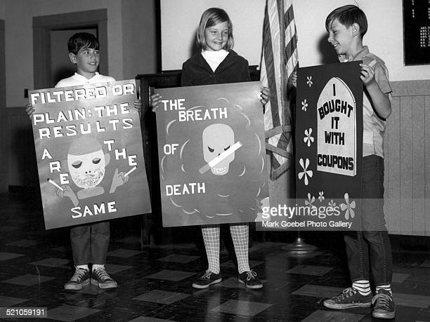 Grade school children with antismoking posters late 1950s or early 1960s