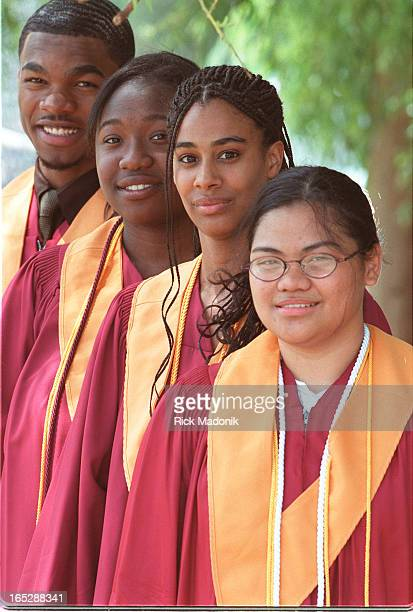 Grads from Crawford Adventist Academy who are focus of feature story. From RIGHT, Grace Realeza -- validictorian -- Natalie Sweeney, Chantelle Morris...