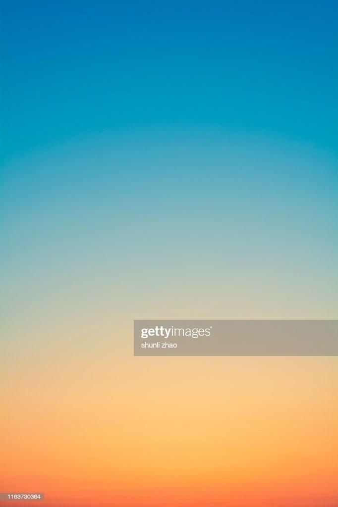 Gradual color of the sky at sunset : Foto de stock