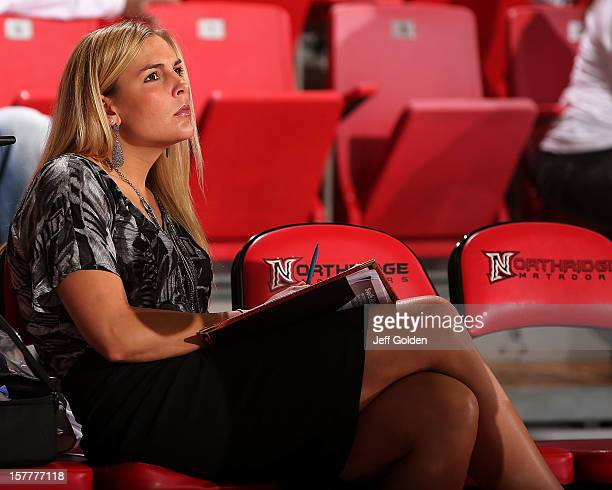 Graduate assistant coach Brittany Burkhardt of the Detroit Titans looks on during a timeout against the South Alabama Jaguars at The Matadome on...