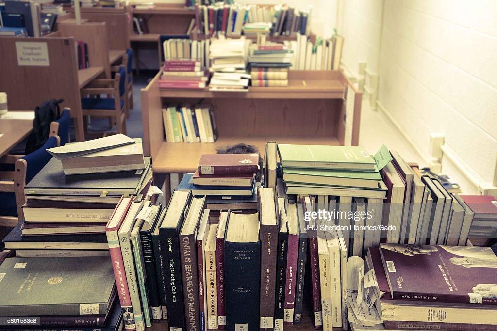 Graduate Student, Piles Of Books : News Photo