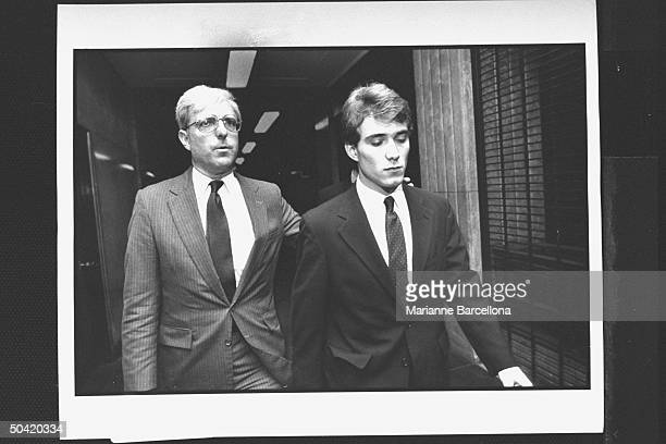Graduate student Thomas Feegel, boyfriend of Vanessa Vadim w. His lawyer Don Buchwald after being arrested for drug possession at courthouse.
