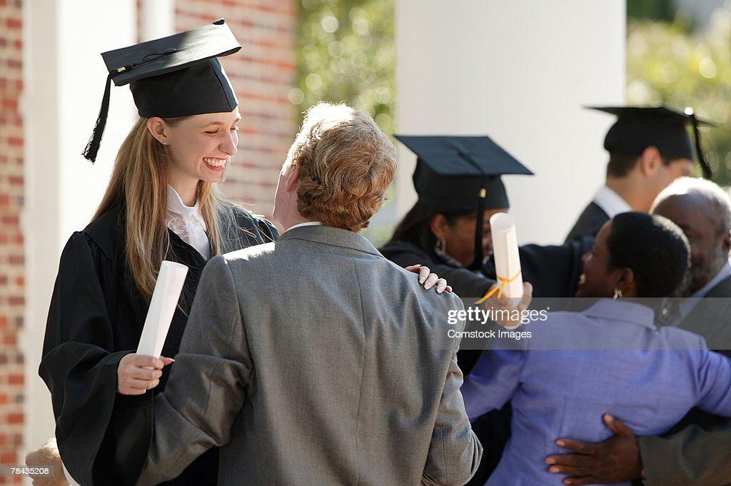 Graduates and parents : Stockfoto