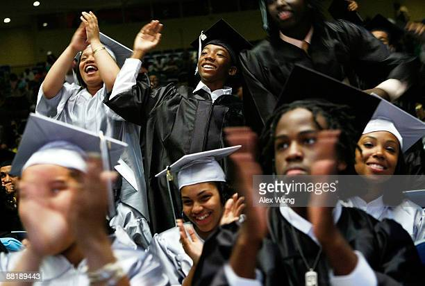 Graduates celebrate during the commencement for the Class of 2009 of the Washington Math Science Technical High School June 3 2009 at the Cramton...