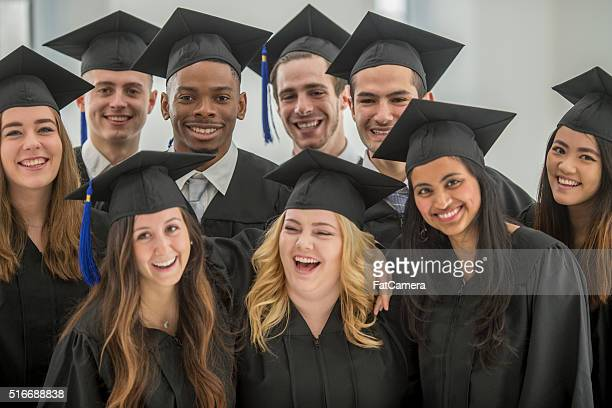 Graduates Laughing Together Before Graduation