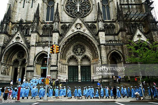 Graduates of Columbia University's lauded School of International and Public Affairs line up outside before SIPA's commencement exercises at St John...