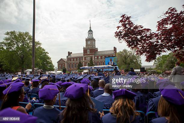 Graduates participate in Howard University's 146th commencement exercises on May 10 2014 in Washington DC Honored at the convocation were...