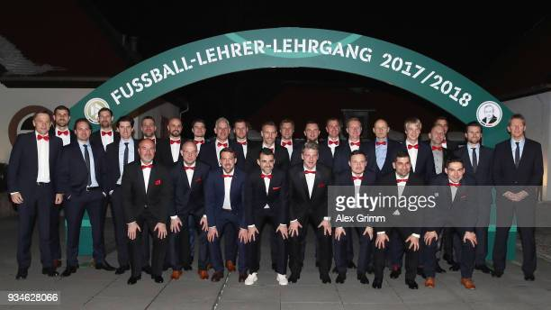 Graduates pose during the Coaching Award Ceremony Closing Event UEFA Pro Coaching Course 2017/2018 at Kempinski Hotel Frankfurt on March 19 2018 in...