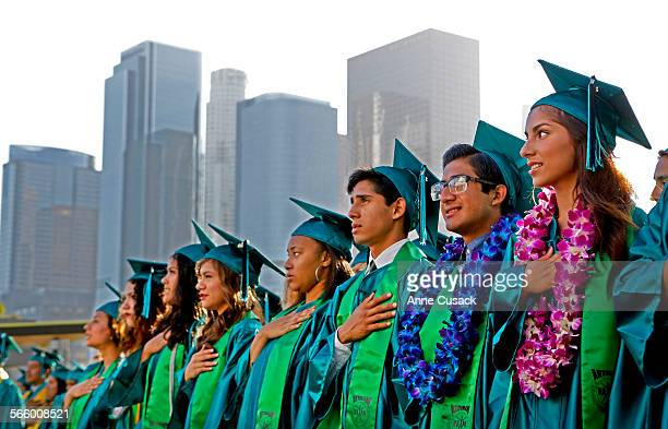 Graduates retie the Pledge of Allegiance during graduation for the Ramon C Cortines School of Visual Performing Arts class of 2013 is held in the...