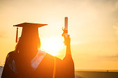 Graduates wear a black hat to stand for congratulations on graduation